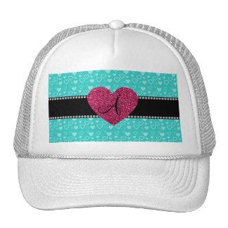 Monogram Turquoise hearts Hats