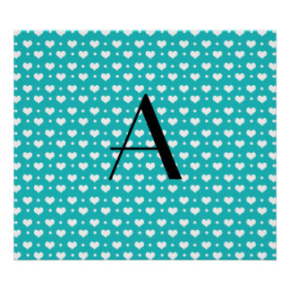 Monogram turquoise hearts polka dots posters