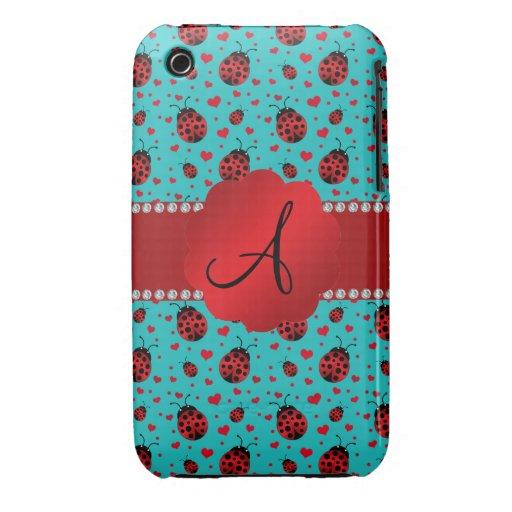Monogram turquoise ladybugs hearts pattern iPhone 3 cases