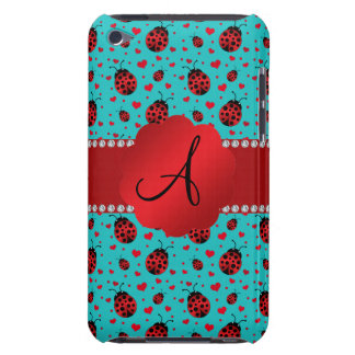 Monogram turquoise ladybugs hearts pattern iPod touch cases