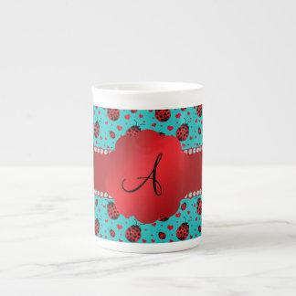 Monogram turquoise ladybugs hearts pattern porcelain mugs
