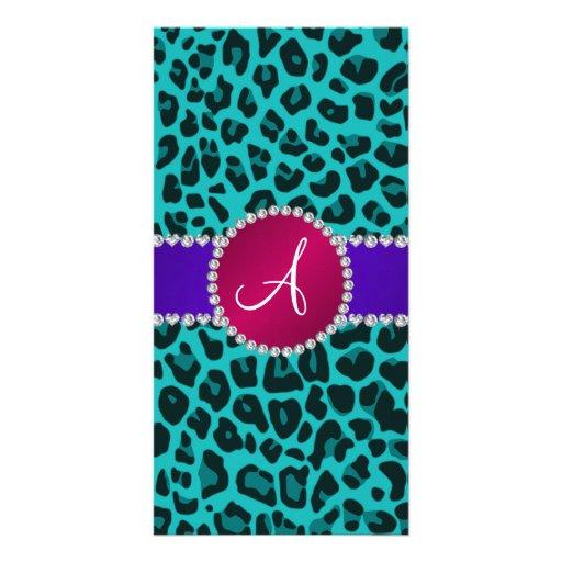 Monogram turquoise leopard pink circle photo card