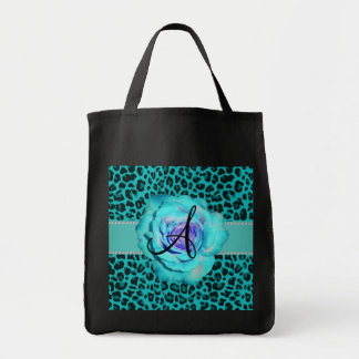 Monogram turquoise leopard rose canvas bags