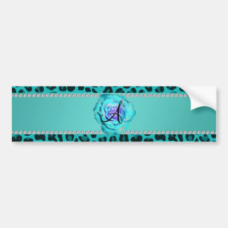Monogram turquoise leopard rose bumper sticker