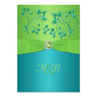 Monogram Turquoise, Lime Floral Wedding Invitate Card