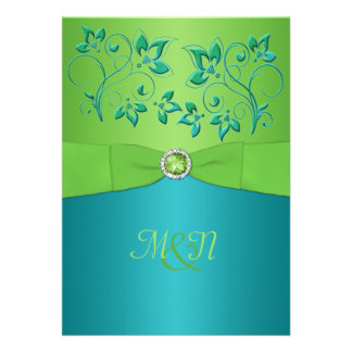 Monogram Turquoise Lime Floral Wedding Invitate Cards
