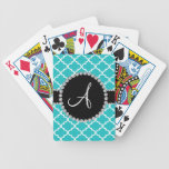Monogram turquoise moroccan quatrefoil bicycle playing cards