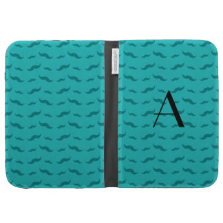 Monogram turquoise mustache pattern kindle cover