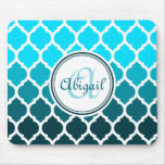 Monogram Turquoise Ombre Moroccan Lattice Pattern Mouse Pad