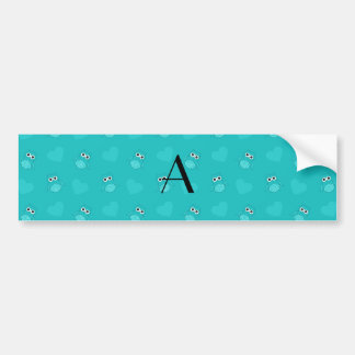 Monogram turquoise owls and hearts bumper stickers