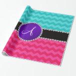 Monogram turquoise pink chevrons purple diamonds gift wrapping paper