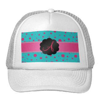 Monogram turquoise pink polka dots hat