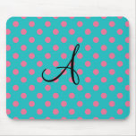 Monogram turquoise pink polka dots mouse pad
