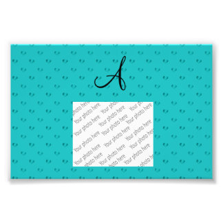 Monogram turquoise polka dot hearts photographic print