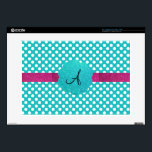 "Monogram turquoise polka dots 15&quot; laptop skins<br><div class=""desc"">Turquoise/aqua/teal white polka dots pattern,  fauc turquoise glitter scallop circle and pink glitter stripe and monogram letter change to any letter a, b, c, d, e, f, g, h, i, j, k, l, m, n, o, p, q, r, s, t, u, v, w, x, y, z</div>"