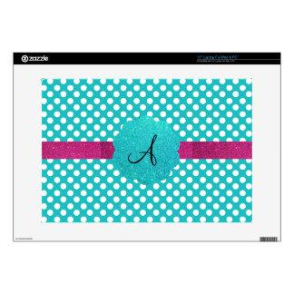 """Monogram turquoise polka dots 15"""" laptop skins"""