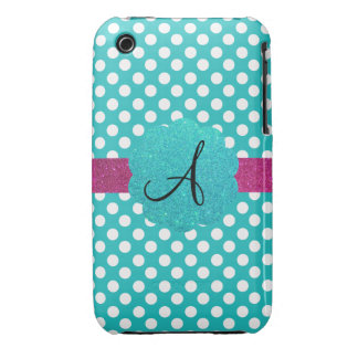 Monogram turquoise polka dots Case-Mate iPhone 3 cases