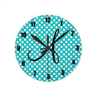 Monogram turquoise polka dots wall clocks