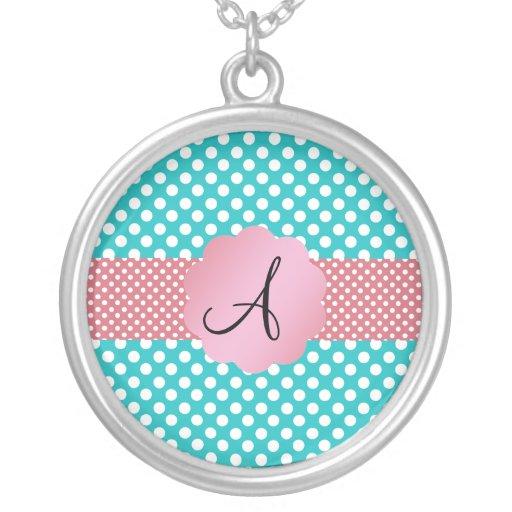 Monogram turquoise polka dots custom jewelry