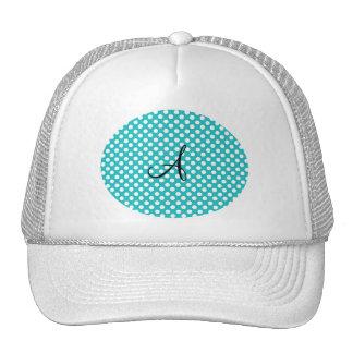Monogram turquoise polka dots trucker hat