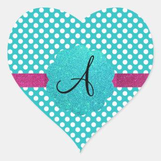 Monogram turquoise polka dots heart stickers