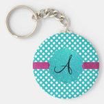 Monogram turquoise polka dots keychains