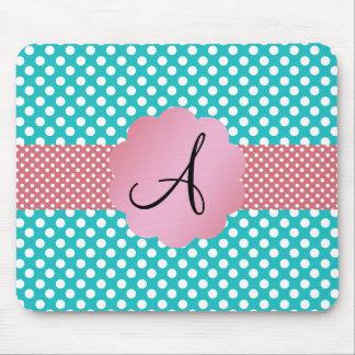 Monogram turquoise polka dots mouse pad