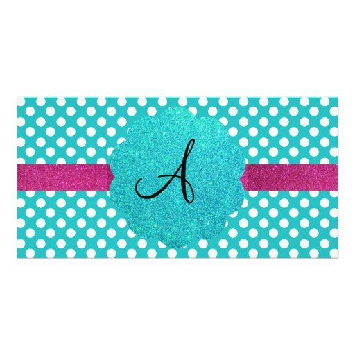 Monogram turquoise polka dots personalized photo card