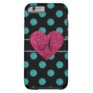 Monogram turquoise polka dots pink heart tough iPhone 6 case