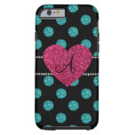 Monogram turquoise polka dots pink heart tough iPhone 6 case
