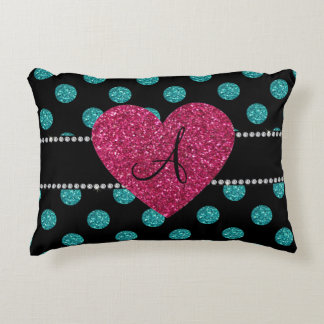 Monogram turquoise polka dots pink heart accent pillow