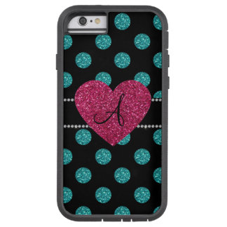Monogram turquoise polka dots pink heart tough xtreme iPhone 6 case