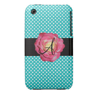 Monogram turquoise polka dots pink rose iPhone 3 cases
