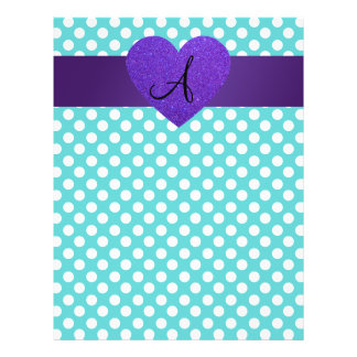 "Monogram turquoise polka dots purple heart 8.5"" x 11"" flyer"