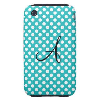 Monogram turquoise polka dots white iPhone 3 tough cover