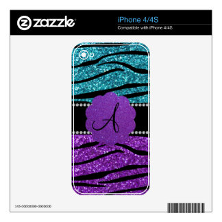 Monogram turquoise purple glitter zebra stripes skins for the iPhone 4