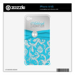 Monogram Turquoise Silver Damask iPhone 4/4s Skin iPhone 4S Decals