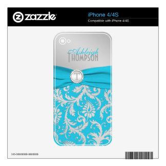 Monogram Turquoise Silver Damask iPhone 4/4s Skin