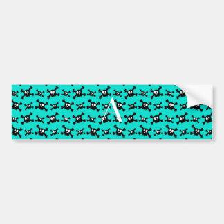 Monogram turquoise skulls pattern bumper stickers
