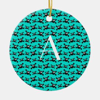 Monogram turquoise skulls pattern ornament