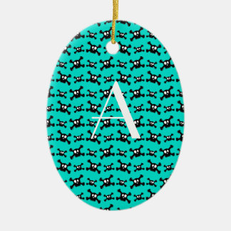 Monogram turquoise skulls pattern christmas ornament