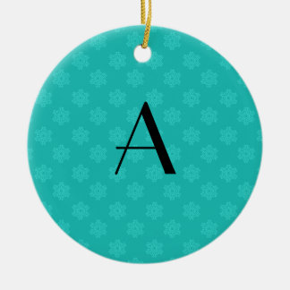 Monogram turquoise snowflakes ornament