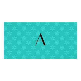 Monogram turquoise snowflakes photo card