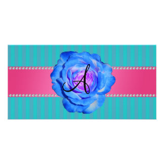 Monogram turquoise stripes blue rose photo card