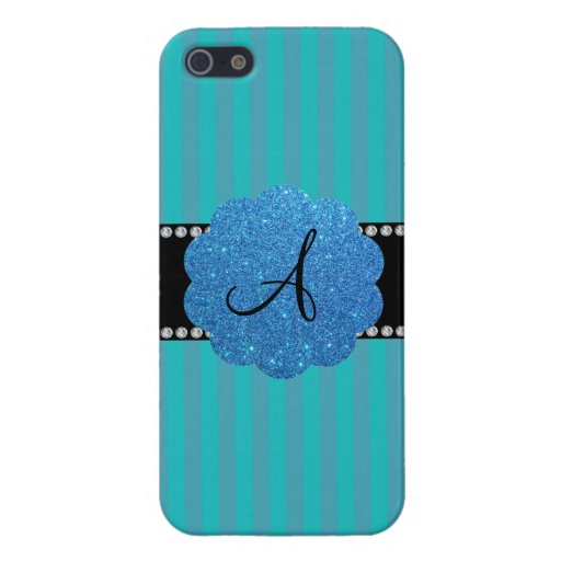 Monogram turquoise stripes covers for iPhone 5