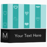 Monogram Turquoise Stripes Modern Heart Pattern Binder