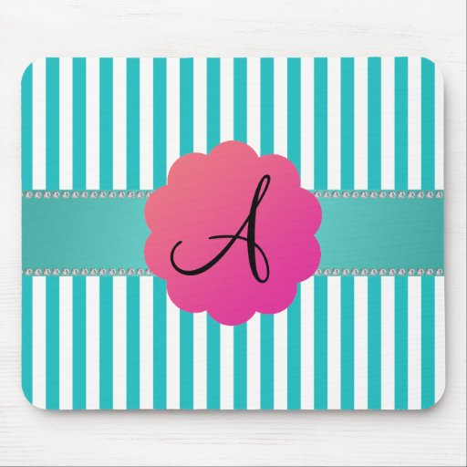 Monogram turquoise stripes mouse pads