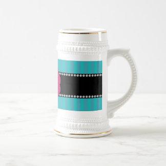 Monogram turquoise stripes mugs