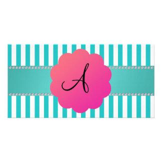 Monogram turquoise stripes photo card