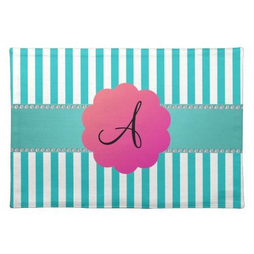 Monogram turquoise stripes place mats